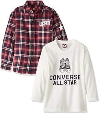 Converse (コンバース) - (コンバース)CONVERSE ボーイズ・シャツ&長袖Tシャツ(2枚組セット) OTH-514 33 レッド 140