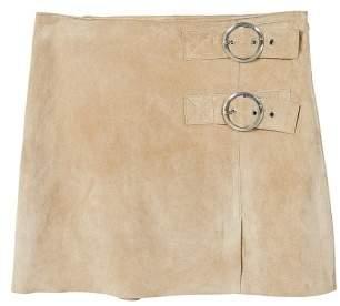 MANGO Buckles leather skirt