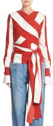 Women's Monse Stripe Stretch Silk Wrap Blouse $1,690 thestylecure.com