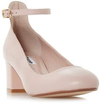 Dune Light Pink Leather 'Allie' Mid Block Heel Court Shoes