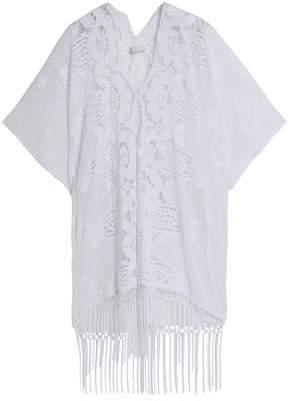 Miguelina Fringed Macramé-Paneled Cotton Guipure Lace Coverup