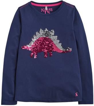 Joules Girls Ava Dinosaur Sequin Long Sleeve T-shirt