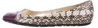 Jimmy Choo Snakeskin Cap-Toe Flats