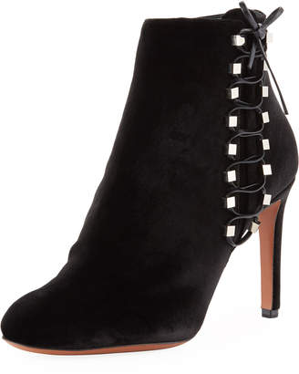 Alaia Velvet Side-Lace Ankle Booties