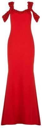 Badgley Mischka Embellished Cold-Shoulder Gown