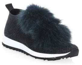 Jimmy Choo Norway Fur Pom-Pom& Lurex Sneakers