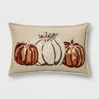 Threshold Embroidered Pumpkins Lumbar Throw Pillow Neutral