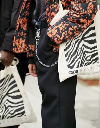 6c5f1c04bb38 Asos Design DESIGN branded tote bag in zebra print