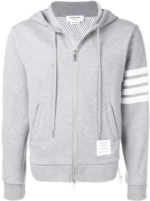 Thom Browne striped sleeve zip up hoodie grey