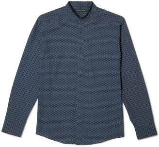 Vince Camuto Geo-print Mandarin-collar Shirt
