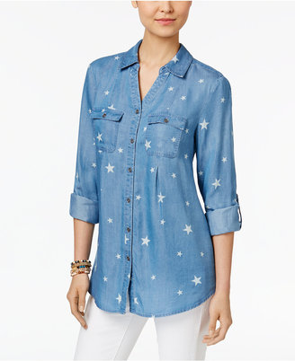 Style & Co Pleated Denim Shirt, Only at Macy's $49.50 thestylecure.com