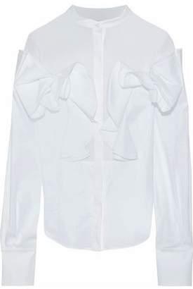 Antonio Berardi Voile-Paneled Ruffled Stretch-Cotton Poplin Blouse