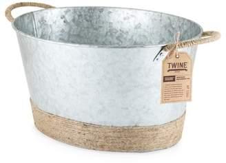 Twine Seaside Jute Rope Wrapped Galvanized Beverage Tub