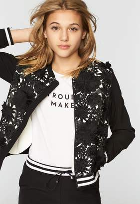 Milly Italian Cady Floral Applique Bomber