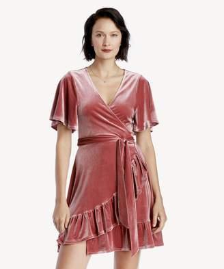 Sole Society Velvet Flutter Slv Wrap Front Dress