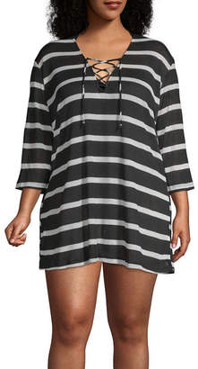 Porto Cruz Stripe Knit Swimsuit Cover-Up Dress-Plus