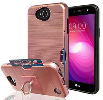 LG Electronics X Power 2/X Charge/K10 Power/Fiesta 2 LTE Case with Phone Stand,Ymhxcy [Credit Card Slots Holder][Metal Brushed Texture] Hybrid Dual Layer Protective Cover Shell for LV7-LCK Rose Gold