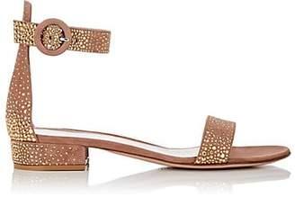 Gianvito Rossi Women's Iridium Studded Suede Sandals - Praline