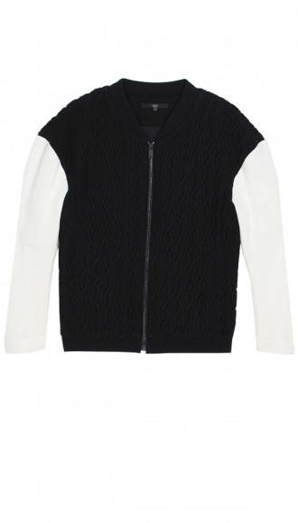 Tibi Patchwork Cable Bomber Jacket