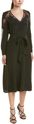 The Kooples Lace Silk Midi Dress