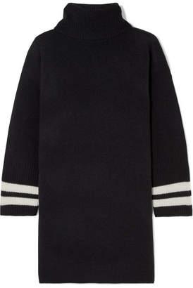 Madewell Striped Merino Wool Turtleneck Mini Dress - Black