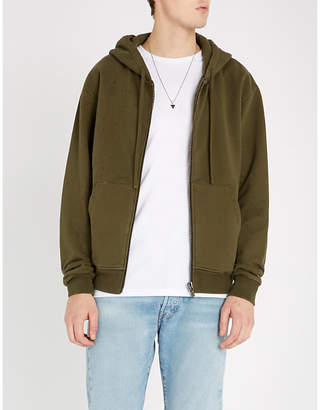 The Kooples Distressed relaxed-fit cotton-jersey hoody