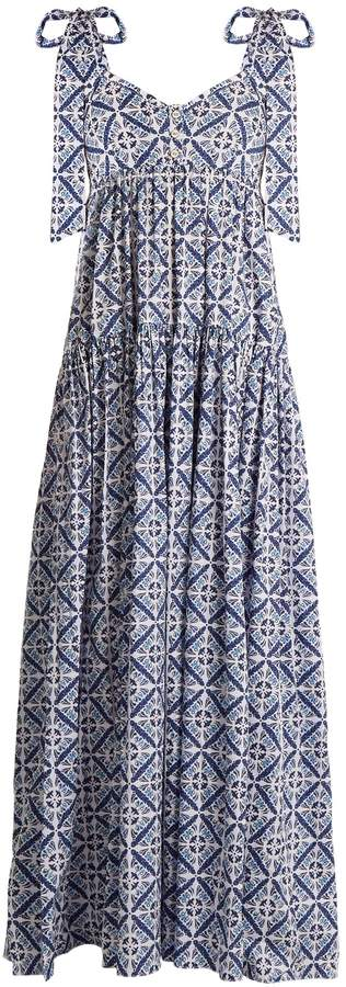 Caroline Constas Elle tiered floral tile-print cotton-blend dress