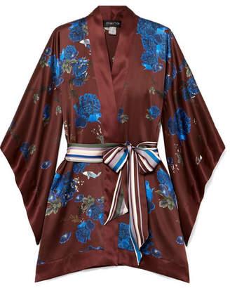 MENG - Floral-print Silk-satin Kimono - Burgundy