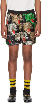 Gucci Multicolor Silk Panther Face Shorts