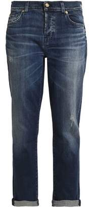 7 For All Mankind Distressed Mid-Rise Straight-Leg Jeans