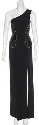 Versace Leather-Accented One-Shoulder Gown