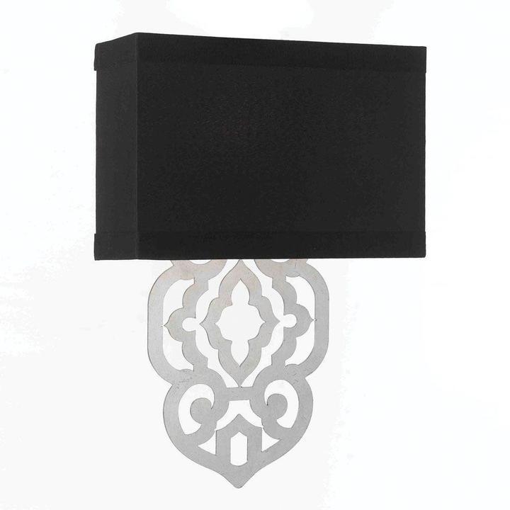 AF LightingAF Lighting Grill 2-Light Silver Foil Sconce with Black Poly Silk Hardback Shade