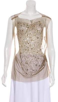 Gary Graham Embellished Mesh Top w/ Tags