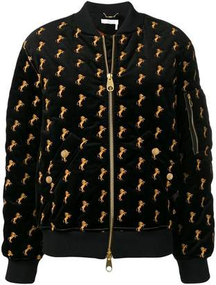 Chloé horses embroidered bomber jacket