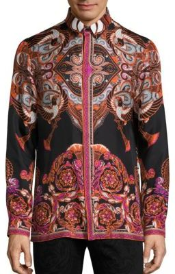 Versace Collection Bold Ethnic Graphic Silk Shirt $695 thestylecure.com