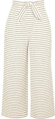 Mara Hoffman - Cropped Striped Basketweave Cotton-blend Wide-leg Pants - Cream $280 thestylecure.com