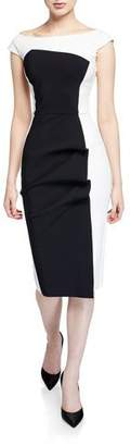 Chiara Boni Citra Bateau-Neck Cap-Sleeve Colorblock Cocktail Dress