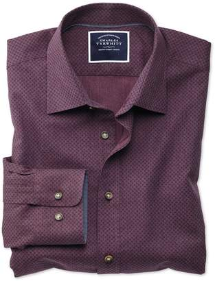 Charles Tyrwhitt Slim Fit Burgundy Spot Print Cotton Casual Shirt Single Cuff Size XL