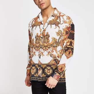 River Island Mens Jaded London White leopard baroque shirt