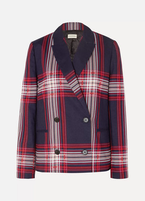 By Malene Birger Rivali Double-breasted Checked Linen And Cotton-blend Blazer - Blue