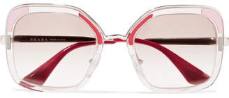 Prada Square-frame Acetate And Silver-tone Sunglasses - Red