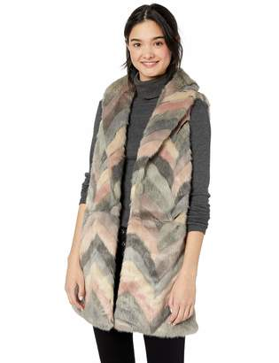 Steve Madden Women's Chevron Color Block Faux Fur Vest Blush X-Small/Small