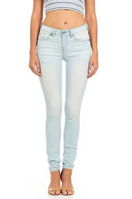 Cover Girl Women's Plus Size Cute Blue Mid Rise Slim Fit Stretchy Washed Skinny Jeans