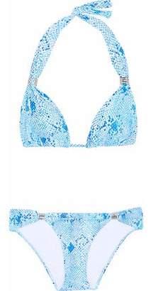 Melissa Odabash Grenada Embellished Snake-Print Triangle Bikini