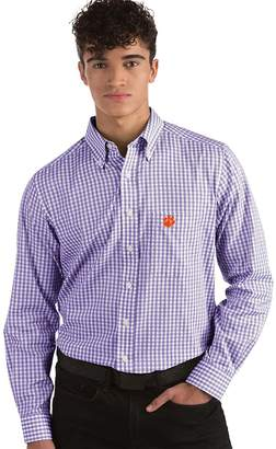 Antigua Men's Clemson Tigers Box Plaid Pattern Button-Down Shirt
