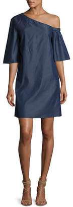 Tibi Dark Denim One-Shoulder Dress, Dark Blue