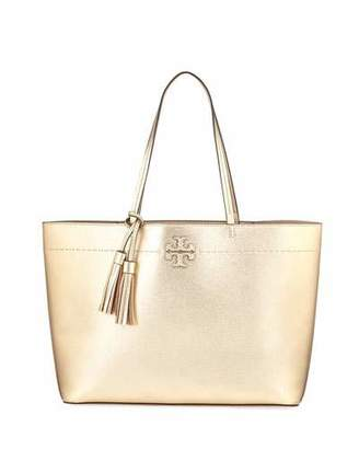 Tory Burch McGraw Metallic Leather Tote Bag, Gold
