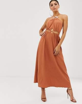 Asos Design DESIGN halter neck cut out maxi dress with trim detail