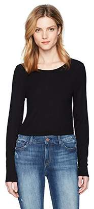 Three Dots Women's Viscose Rib l/s Crop Tight Top