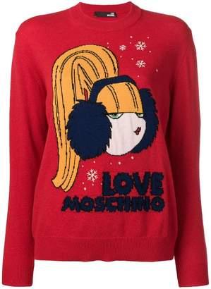 Love Moschino logo intarsia sweater